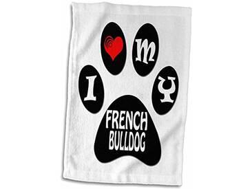 3dRose I Love My Bouledogue français Chiot//Paw/Cool Dicton Serviette, Noir/Blanc, 15x 55,9cm