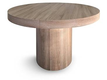 Menzzo Suzie Table Ronde Extensible Chêne Clair, 260 x 110 x 76 cm