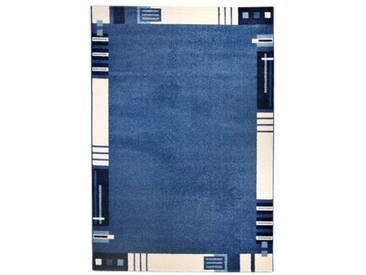 andiamo 1100307 Le Havre Tapis tissé avec Bordures, Bleu, 60x110cm