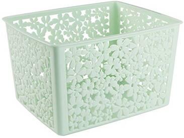 Interdesign 59239EU Blumz Panier de Rangement pour Cuisine/Salle de Bain de Bureau/Garage Plastique Vert 25,4 x 9,46 x 14,22 cm
