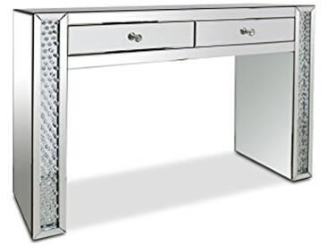 MobilierMoss Khiva Console Coiffeuse Miroir 2 tiroirs, Argent, 118,5x39,5x80 cm
