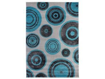 andiamo 1100302 Sudbury Tapis tufté à poils ras Motif cercles Gris/turquoise 80 x 150 cm
