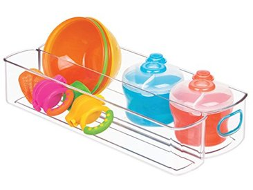 InterDesign IDjr boîte de rangement à 2 compartiments pour placard ou garde-manger, organiseur de cuisine en plastique, transparent et bleu-vert