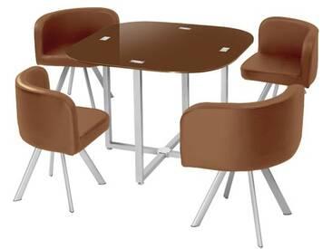 Menzzo P803 Contemporain Mosaic 90 Table et Chaises Métal/Verre Marron 90 x 90 x 75 cm