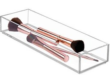 InterDesign Clarity Organisateur de Maquillage, Long présentoir Maquillage en Plastique sans BPA, Box cosmétique, Transparent
