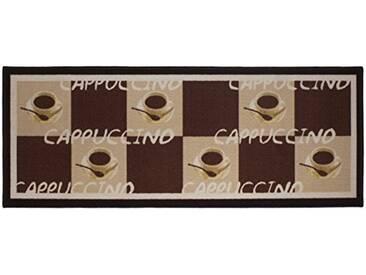 andiamo 1100336Tapis de Cuisine Cappuccino Cups Tapis Cuisine Tasses à café Oeko Tex, Marron 67x 180cm, 100% Polyamide, café, 250x67
