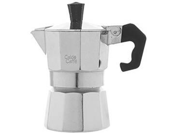 Bialetti Home - Caldo Caffè - Cafetière Moka avec 1 Tasse en Aluminium, Couleur Gris, 12 x 6,5 x 13 cm