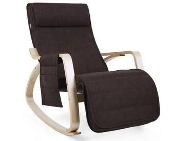 SONGMICS Fauteuil à Bascule Rocking Chair avec Repose-Pieds réglable à 5 Niveaux Design Charge Maximum: 150 kg Lin Brun LYY12Z