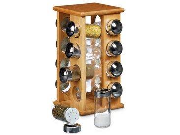 Relaxdays Carrousel à épices porte-épices manège à épices 16 pots en verre support en bois de bambou HxlxP: 30 x 19,5 x 19,5 cm distributeur pour la cuisine présentoir herbes aromatiques, nature