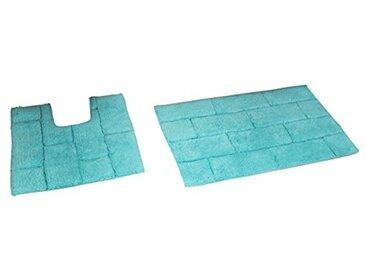 Rapport pour carrelage de Bain et Tapis WC, Coton, Aqua, 80x 50x 2cm