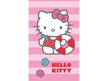 CTI Drap DE Plage 70X120 Hello Kitty Deauville, 100% Coton, Rose Gris Bleu/Rouge