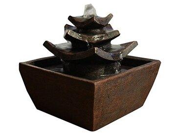 Zen'Light Temple Fontaine d'Intérieur Marron Foncé 16, 5 x 15, 5 cm
