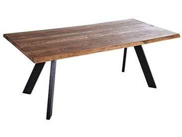 Alkove - Hayes - Table en bois massif avec pieds en métal en forme de A, 180cm, Chêne sauvage