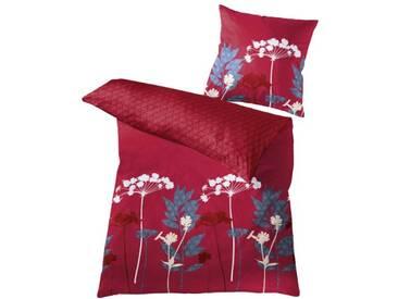 Kleine Wolke Parure de lit avec drap Maco Satin Barcelona Petit Cloud, rouge, 155 x 220 cm + 80 x 80 cm