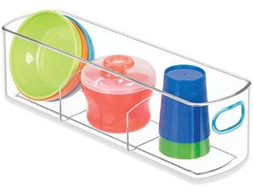 InterDesign IDjr boîte de rangement à 3 compartiments pour placard ou garde-manger, organiseur de cuisine en plastique, transparent et bleu-vert