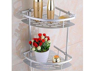 Keraiz Stl-297–2l-cc-alu Premium à 2étages en aluminium étagère de salle de bain de douche d'angle de rangement Caddy Shampooing Basket-c026, Argent, 596