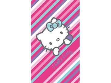 CTI Drap DE Plage 75X150 Hello Kitty Paris 100% Coton, Rose Violet Ciel/Blanc