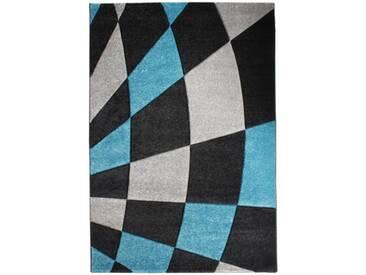 andiamo 1100208 Tapis tissé Motif carreaux Noir/turquoise 80 x 150 cm