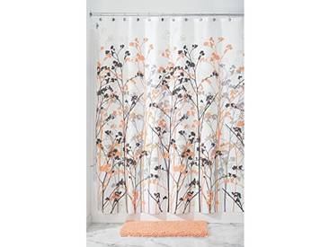 InterDesign Freesia rideau douche, rideau baignoire de 183,0 cm x 183,0 cm en polyester, rideau de bain intemporel design stable, corail/gris