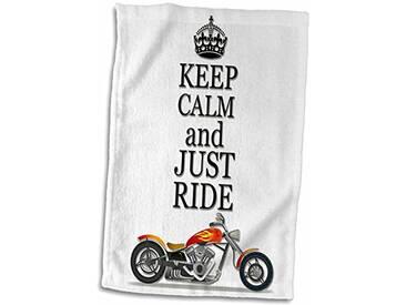 3dRose Keep Calm and Just Ride/Cool Motos Dicton Serviette, Blanc, 15x 55,9cm