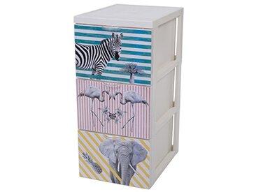 Iris Ohyama, Armoire de rangement design 3 tiroirs - Style Chest - SCF-303,plastique, thème Animaux sauvage, 45 L, 29 x 39 x 61,5 cm