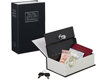 Relaxdays Faux livre coffre fort comme livre de poche fermable à clé caisse à monnaie HxlxP: 18 x 11,5 x 5,5 cm, noir