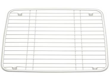 InterDesign Axis grille de protection évier, grille carrée en métal, grille pâtisserie avec petits pieds contre rayures & dérapages, blanc nacré
