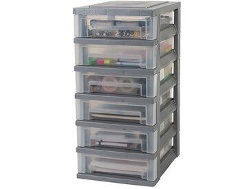 Iris Ohyama tour de rangement sur roulettes à 6 tiroirs - Smart Drawer Chest - SDC-360, plastique, argent/transparent, 42 L, 29 x 39 x 62 cm