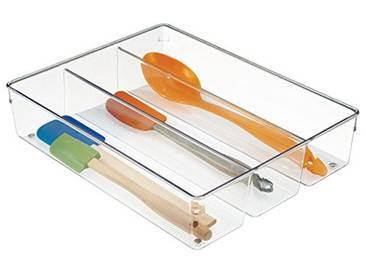 InterDesign Linus boite stockage pour tiroir, très grand bac plastique pour couverts et autres accessoires, transparent