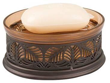 InterDesign Fauna porte-savon avec décorations florales, boite à savon compact en plastique, pour salle de bain et cuisine, couleur ambre/bronze