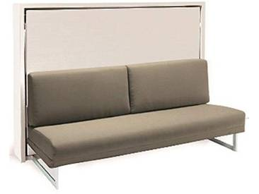 SMARTBEDS Armoire lit transversale Houdini Slash Blanche Mate canapé Tissu Tweed Taupe Couchage 140 * 19 * 200 cm