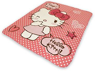 So Mobilia Plaid Hello Kitty Fibres Synthétiques, Rose, 120x140x1 cm