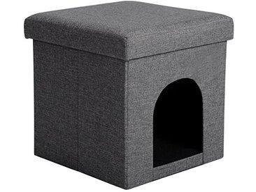 WOLTU SH13dgr-1 Tabouret pouf siège cube coffre pliable boîte de rangement Boîte à chien animal,37,5x37,5x38cm,Gris Foncé