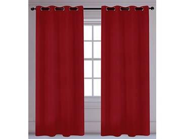 LJ Home Fashions Luxura réduisant la luminosité Interiors 2pièces isolantes à œillets/Anneaux Paire de Rideaux, 142x 241cm, Rouge