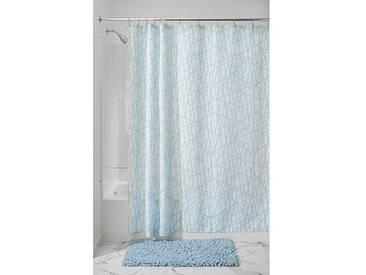 InterDesign Abstract rideau de douche, rideau baignoire 183,0 cm x 183,0 cm en polyester, rideau salle de bain lavable avec 12 œillets, bleu/blanc