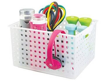 InterDesign Basic corbeille rangement, grand panier salle de bain en plastique pour accessoires de douche et soins, blanc mat