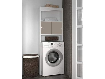 Meuble WC-Machine à laver-Corps blanc-façade taupe/6090A2191A17