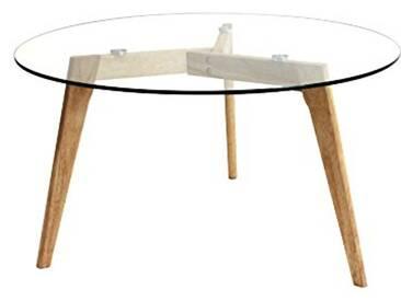THE HOME DECO FACTORY Table Ronde, Bois/Verre, Transparent/Marron, 80 x 80 x 45 cm