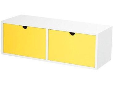 Furniteam Design étagère Murale avec 2tiroirs, MDF, Jaune/Blanc, 48x 18x 16cm