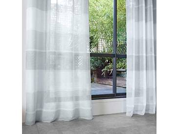 HomeMaison Voilage avec Larges Rayures Horizontales, Polyester, Gris, 240x140 cm