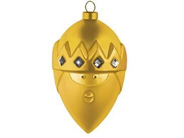 Alessi Amj13 8 Gd Gaspare Boule de Noël en Verre Soufflé, Colorée or, decorée à la Main, Set de 4 Pièces
