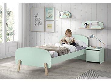 Vipack KICO0893 KIDDY Combinaison 5 pièces: lit, Chevet, 45cm, étagère Murale 65cm et Coffre à Jouets Vert Menthe, MDF et pin Massif, 206,6x96x72 cm