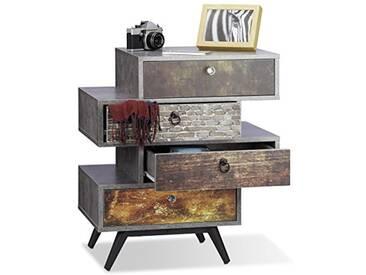 Relaxdays Commode vintage avec 4 tiroirs décalés étagère meuble rangement lowboard HxlxP: 68 x 60 x 40 cm, gris
