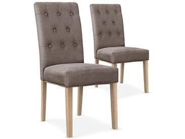 Menzzo Lot de 2 chaises capitonnées Gaya Tissu Taupe