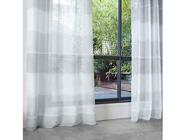 HomeMaison Voilage à Rayures Horizontales Polyester, Gris, 240x140 cm
