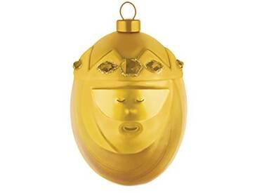 Alessi Amj13 9 Gd Melchiorre Boule de Noël en Verre Soufflé, Colorée or, decorée à la Main, Set de 4 Pièces