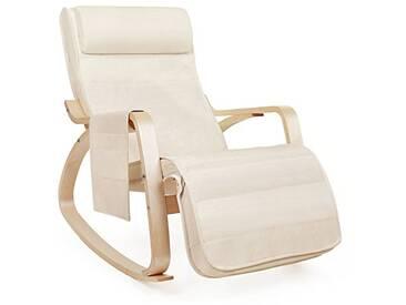 SONGMICS Fauteuil à Bascule Rocking Chair avec Repose-Pieds réglable à 5 Niveaux Design Charge Maximum: 150 kg Lin Beige LYY12M