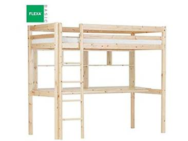 FLEXA Lit Mezzanine avec Bureau et étagères en pin Vernis Naturel Couchage 90 x 200