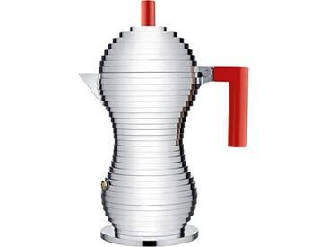 Alessi Mdl02/6rfm Pulcina Cafetière Espresso en Fonte Daluminium, Poignée et Pommeau en Pa, Rouge, Fond en Acier Magnétique Compatible avec la Cuisson Par Induction, 6 Tasses