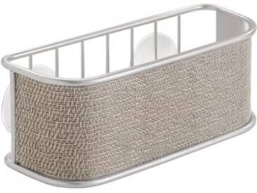 InterDesign Twillo porte-éponge, panier de rangement vaisselle en métal pour éponges, brosses, etc., égouttoir avec ventouses, argenté